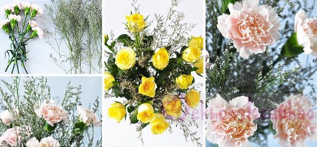 Cách cắm hoa cẩm chướng và sao tím lãng mạn