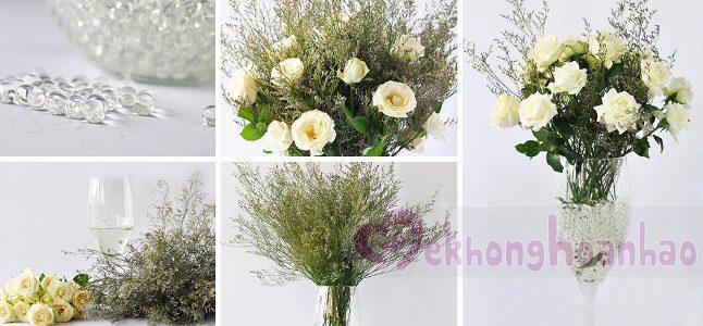 Cách cắm hoa hồng trắng và sao tím đẹp dịu dàng