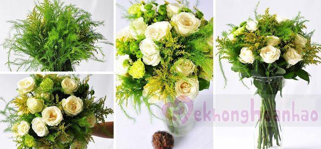 Hoa hồng trắng đẹp tinh khôi khi kết hợp với hoa cúc và cẩm chướng