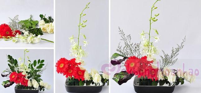 Thử ngay cách cắm hoa Nhật Bản đơn giản với hoa lan, hoa hồng và hoa đồng tiền