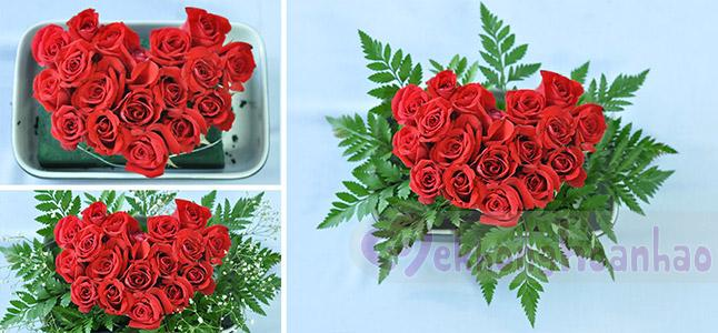 Bật mí cách cắm hoa hồng hình trái tim lãng mạn