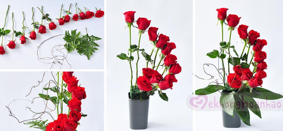 Cách cắm hoa hồng đỏ phá cách