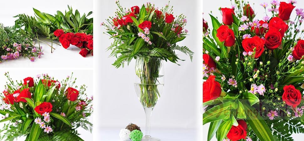 Cách cắm hoa hồng đỏ và thạch thảo tím đơn giản