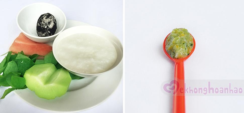 Cách nấu bột thịt heo cho bé với trứng vịt muối, su su và rau ngót