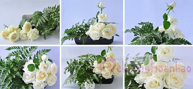 Cách cắm hoa hồng trắng kiểu Nhật đơn giản