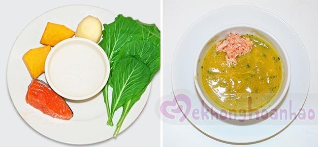 Cách nấu cháo cá hồi cho bé với khoai tây bí đỏ cải xanh
