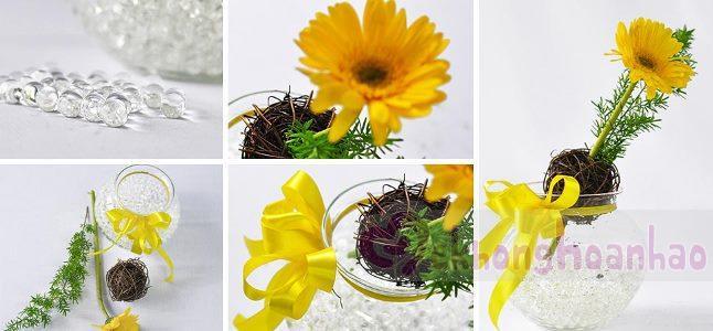 Có ngay lọ hoa để bàn xinh xắn chỉ với 1 bông hoa đồng tiền