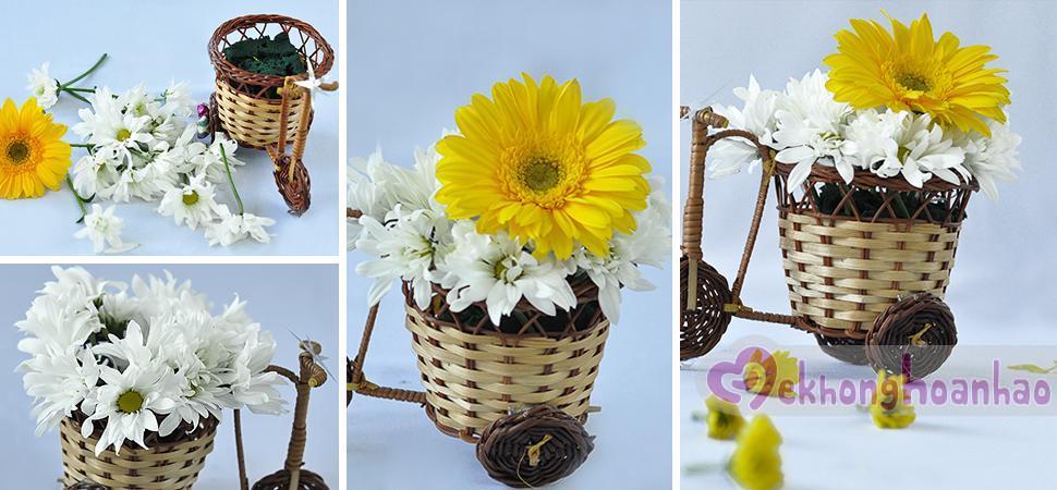 Cách cắm hoa đồng tiền và hoa cúc đáng yêu