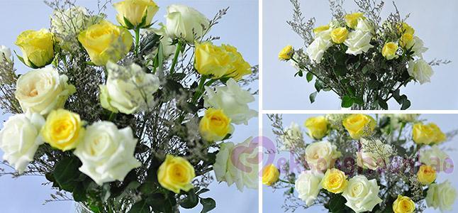 Cách cắm hoa hồng vàng và trắng đẹp mê hồn