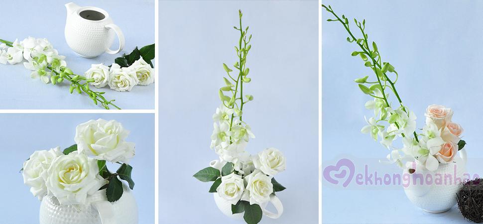 Hoa hồng và lan trắng cắm như thế nào cho đẹp?