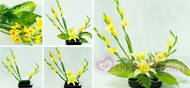 Thích mê với mẫu cắm hoa lay ơn nghệ thuật cùng sắc vàng rực rỡ của ly ly