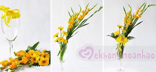 Chỉ với vài thao tác đơn giản, bạn sẽ có ngay một lọ hoa lay ơn thật xinh đẹp