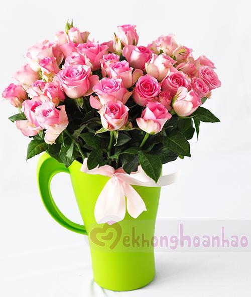 Cách cắm hoa hồng phấn đơn giản và đáng yêu