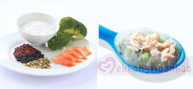 Cách nấu cháo cá hồi cho bé với đậu và súp lơ xanh