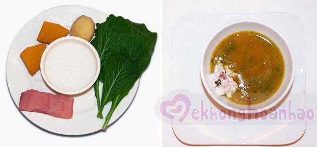 Cách nấu cháo cá lóc cho bé với khoai tây bí đỏ cải xanh