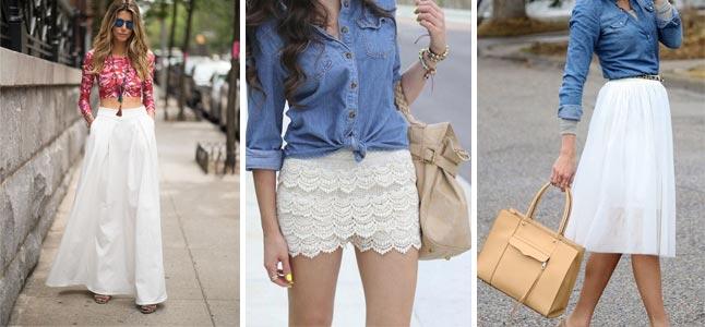 Cách phối đồ với chân váy trắng