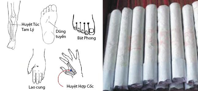 Điều trị bệnh chân tay lạnh tại nhà bằng nhang ngải cứu